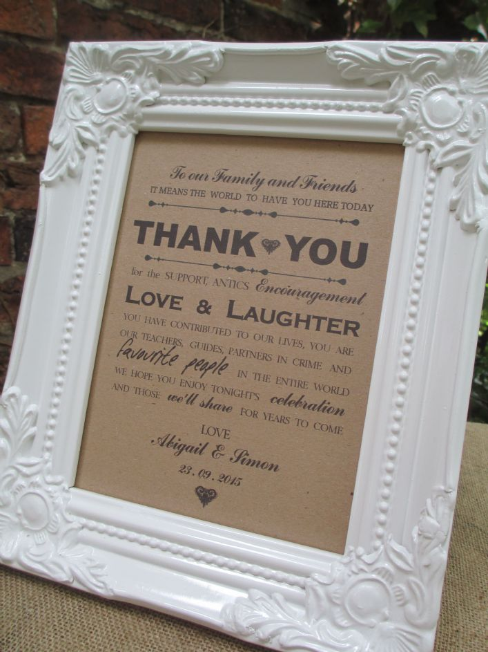 Wedding Thank You Guests Sign White Vintage Frame Personalised